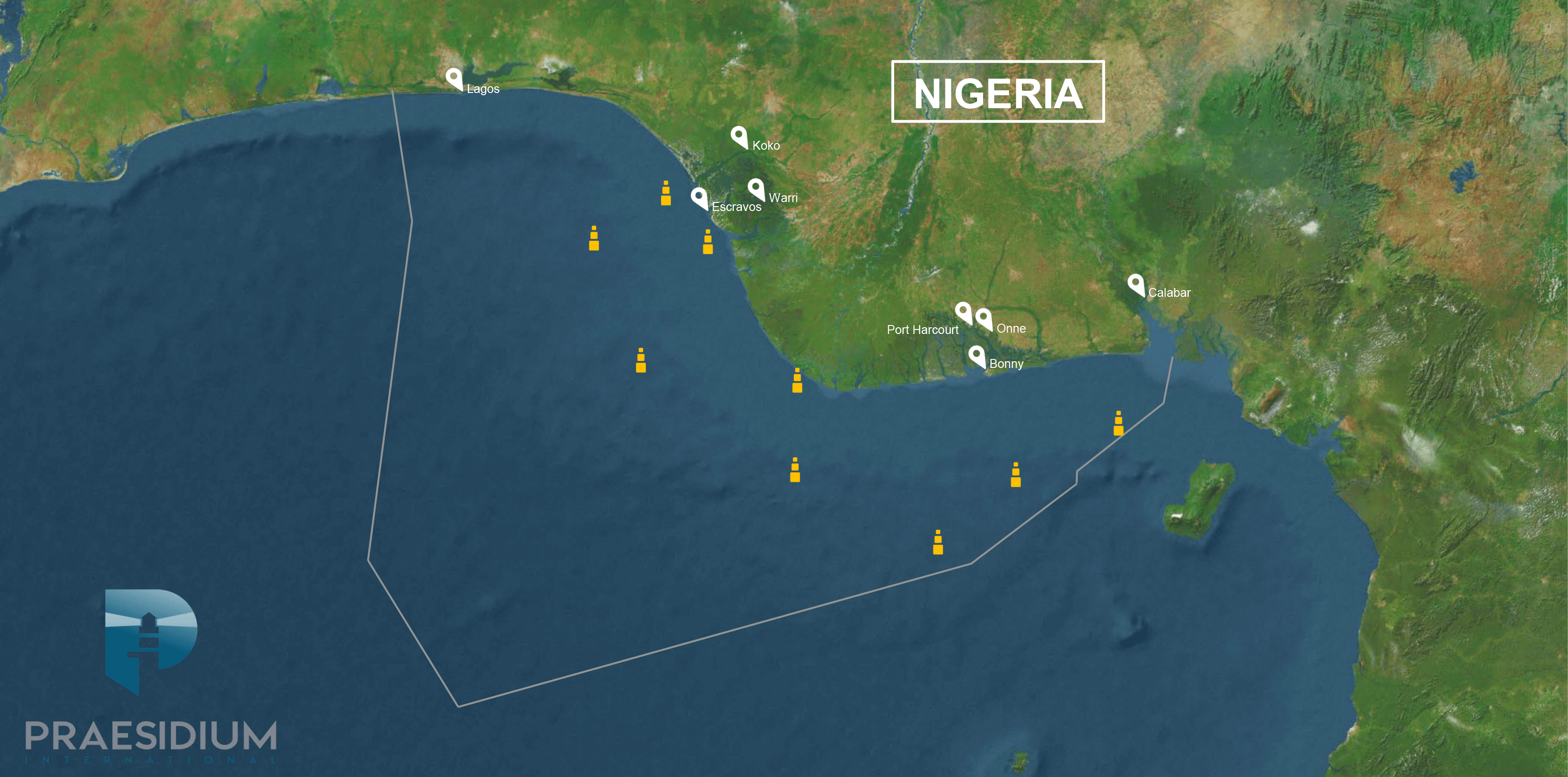Escort Vessels map Nigeria